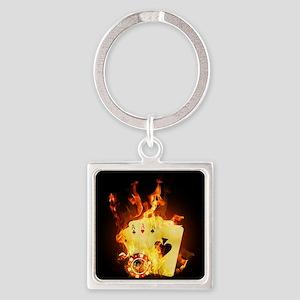 Burning Poker Square Keychain