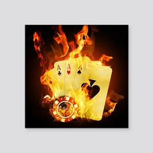 "Burning Poker Square Sticker 3"" x 3"""