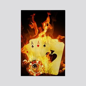 Burning Poker Rectangle Magnet