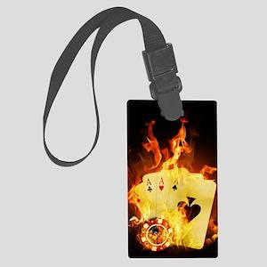 Burning Poker Large Luggage Tag