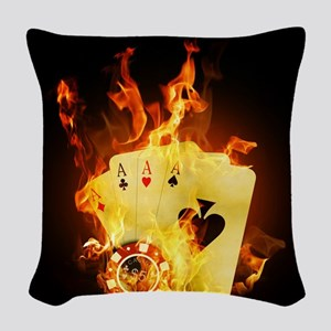 Burning Poker Woven Throw Pillow