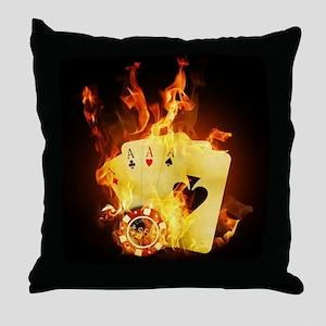 Burning Poker Throw Pillow
