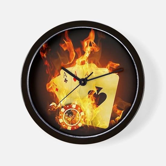 Burning Poker Wall Clock