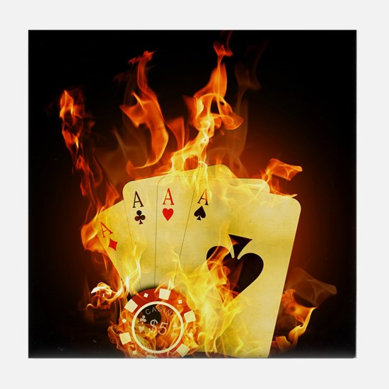 Burning Poker Tile Coaster