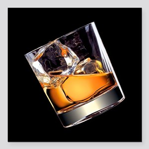 """Whisky on the Rocks Square Car Magnet 3"""" x 3"""""""