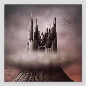 """Gothic Castle Ruins Square Car Magnet 3"""" x 3"""""""