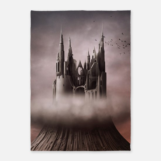 Gothic Castle Ruins 5'x7'Area Rug
