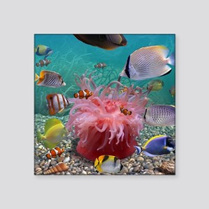 """Tropical Fish Square Sticker 3"""" x 3"""""""