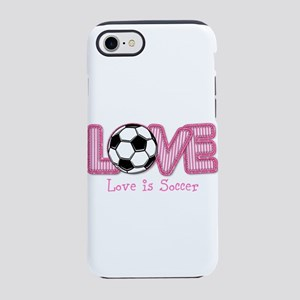 Love is Soccer: Pink Personalize iPhone 8/7 Tough