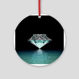 Aqua Diamond Round Ornament