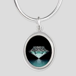Aqua Diamond Silver Oval Necklace