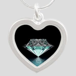 Aqua Diamond Silver Heart Necklace