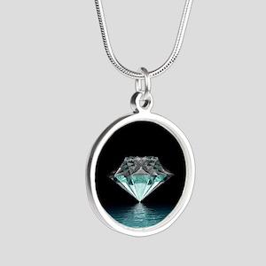 Aqua Diamond Silver Round Necklace