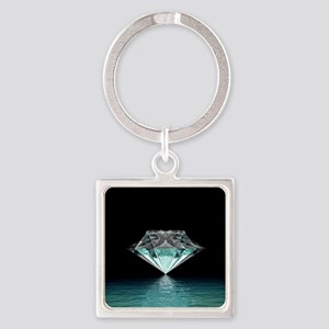 Aqua Diamond Square Keychain