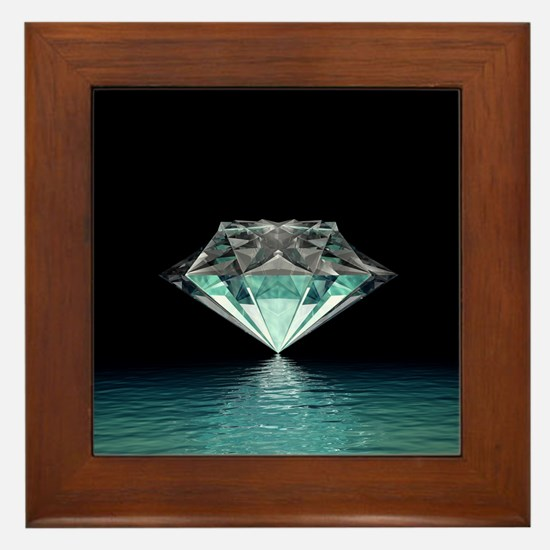Aqua Diamond Framed Tile