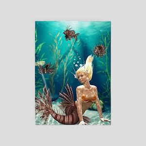 Lionfish Mermaid 5'x7'Area Rug