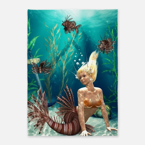 Lionfish Mermaid 5'x7'Area Rug