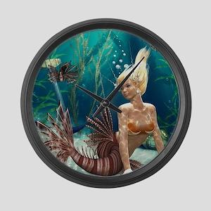 Lionfish Mermaid Large Wall Clock