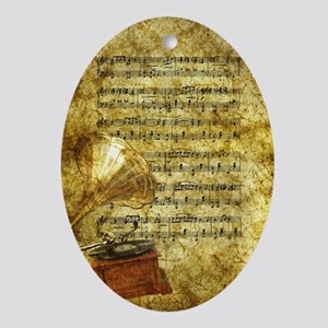 Antique Gramophone and Notes Oval Ornament