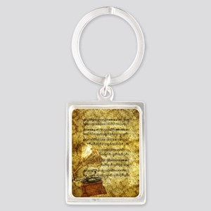 Antique Gramophone and Notes Portrait Keychain