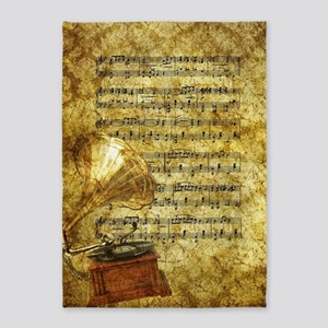 Antique Gramophone and Notes 5'x7'Area Rug