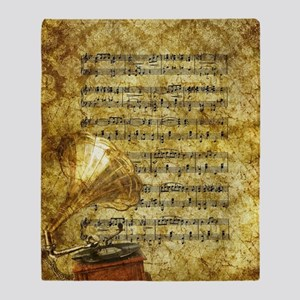 Antique Gramophone and Notes Throw Blanket