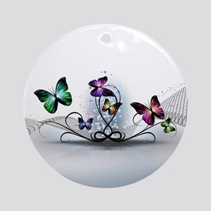 Colorful Butterflies Round Ornament