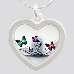 Colorful Butterflies Silver Heart Necklace