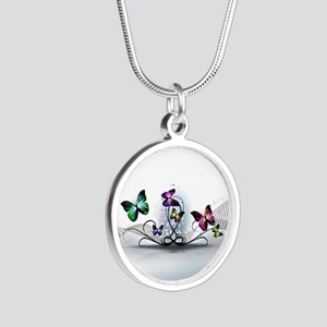 Colorful Butterflies Silver Round Necklace