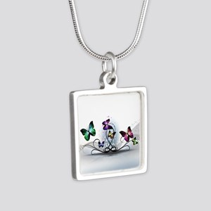 Colorful Butterflies Silver Square Necklace