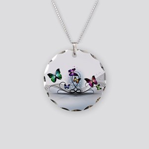 Colorful Butterflies Necklace Circle Charm