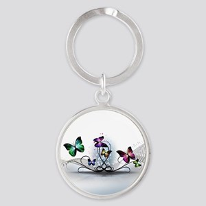 Colorful Butterflies Round Keychain