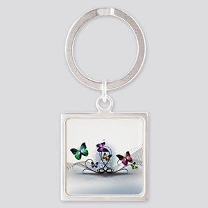 Colorful Butterflies Square Keychain