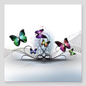 "Colorful Butterflies Square Car Magnet 3"" x 3"""
