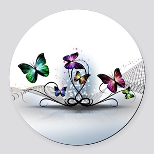 Colorful Butterflies Round Car Magnet