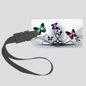 Colorful Butterflies Large Luggage Tag