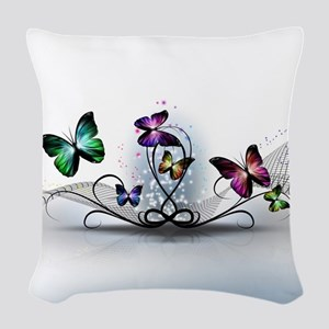 Colorful Butterflies Woven Throw Pillow