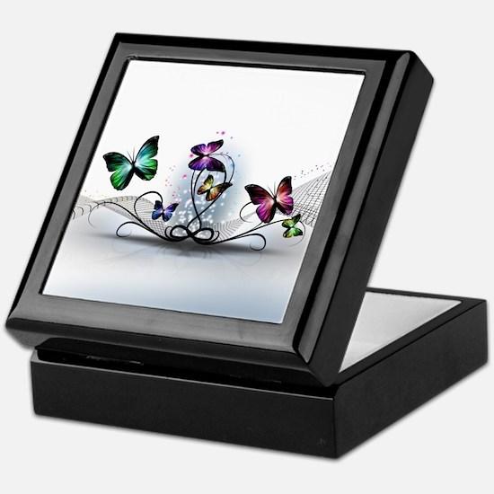 Colorful Butterflies Keepsake Box