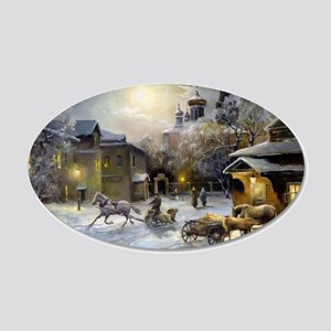 Russian Winter Painting 20x12 Oval Wall Decal