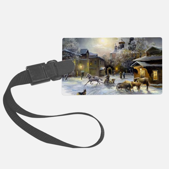 Russian Winter Painting Luggage Tag