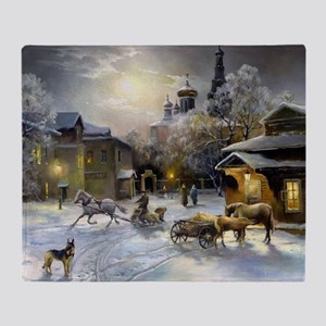 Russian Winter Painting Throw Blanket
