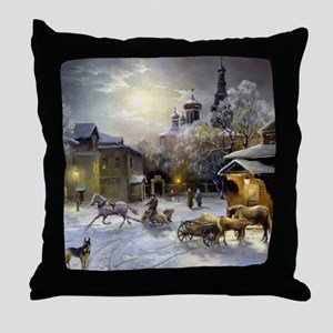 Russian Winter Painting Throw Pillow