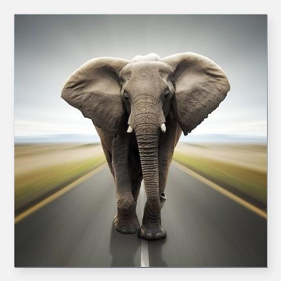 "Elephant Trucker Square Car Magnet 3"" x 3"""