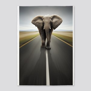 Elephant Trucker 5'x7'Area Rug