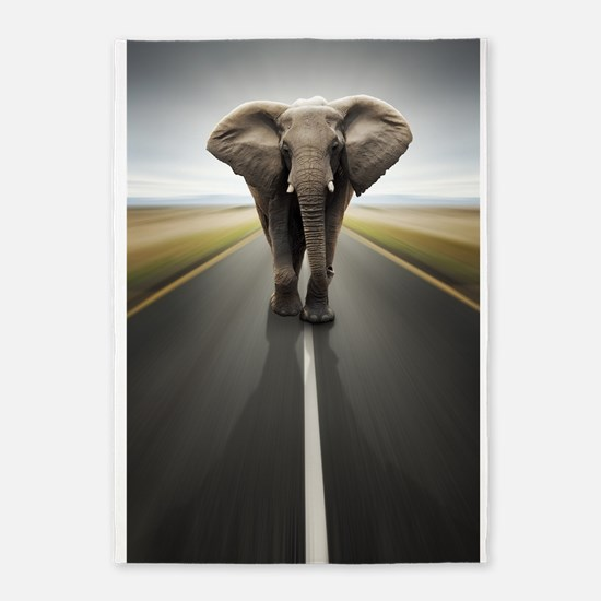 Elephant Trucker 5'x7'Area Rug