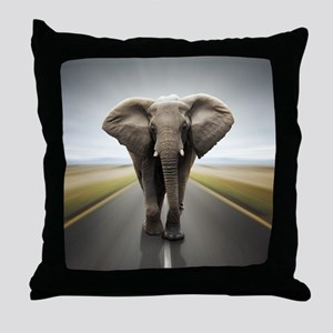 Elephant Trucker Throw Pillow