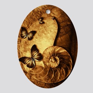 Butterflies and Shell Fossil Oval Ornament