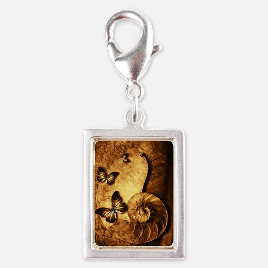 Butterflies and Shell Fossil Silver Portrait Charm