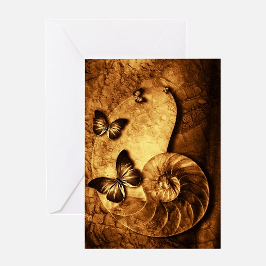 Butterflies and Shell Fossil Greeting Card