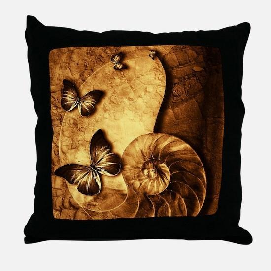 Butterflies and Shell Fossil Throw Pillow